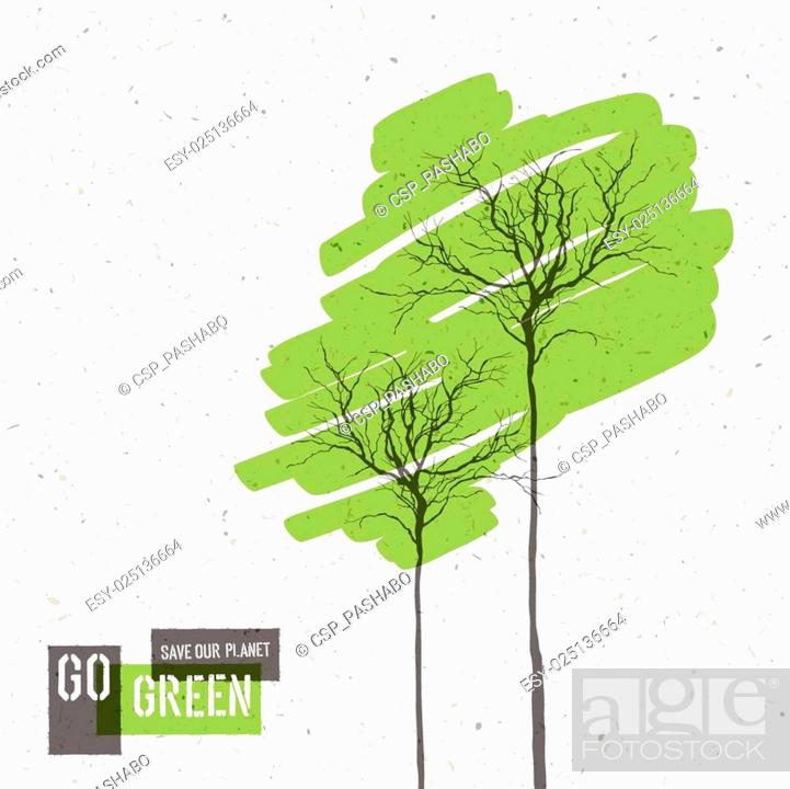 Stock Vector: Go Green Concept Poster With Trees. Vector.