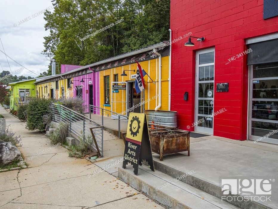 Stock Photo: The Colorful River Arts District of Asheville North Carolina in the United States.