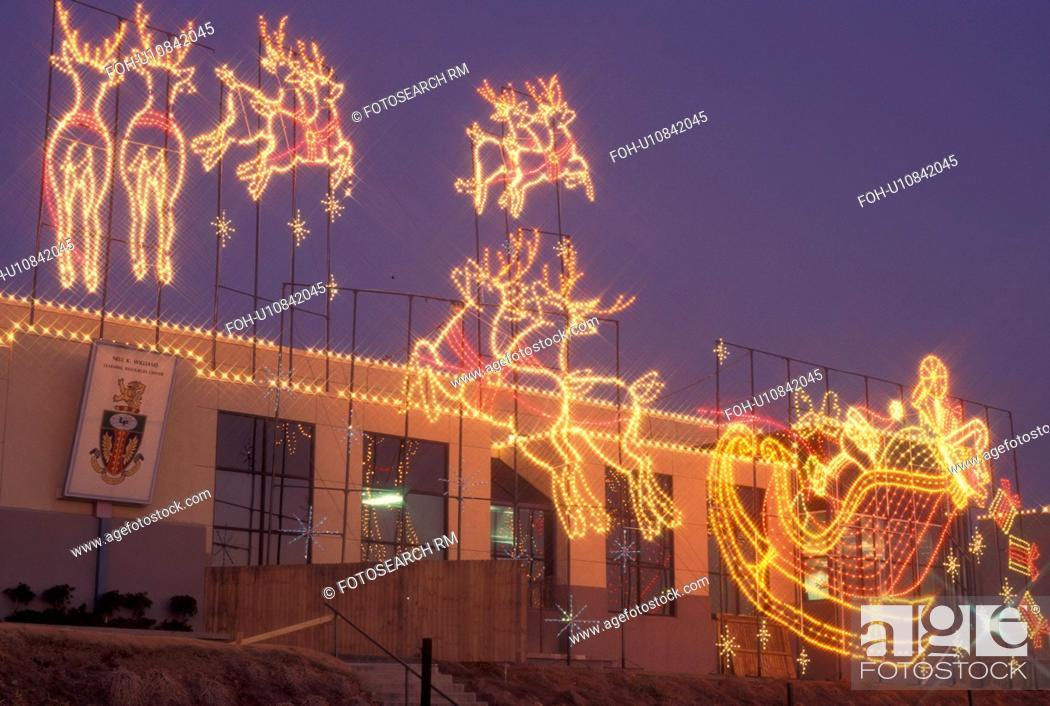 Stock Photo - Christmas, Marietta, GA, Georgia, Atlanta, Lights of Life  Christmas light display of Santa and Reindeer at Life College in Marietta - Christmas, Marietta, GA, Georgia, Atlanta, Lights Of Life Christmas
