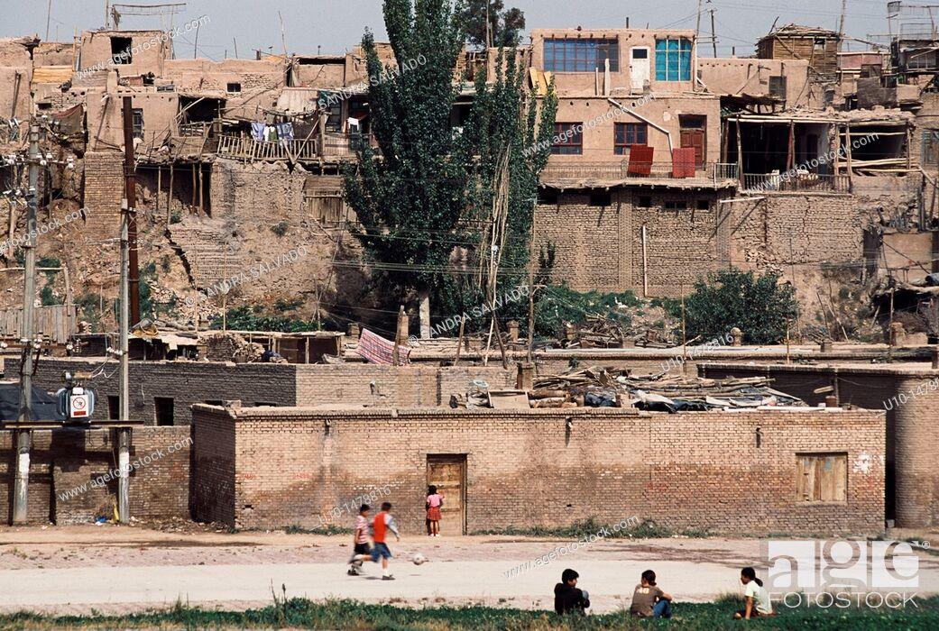Stock Photo: Old city of Kashgar, Xinjiang.