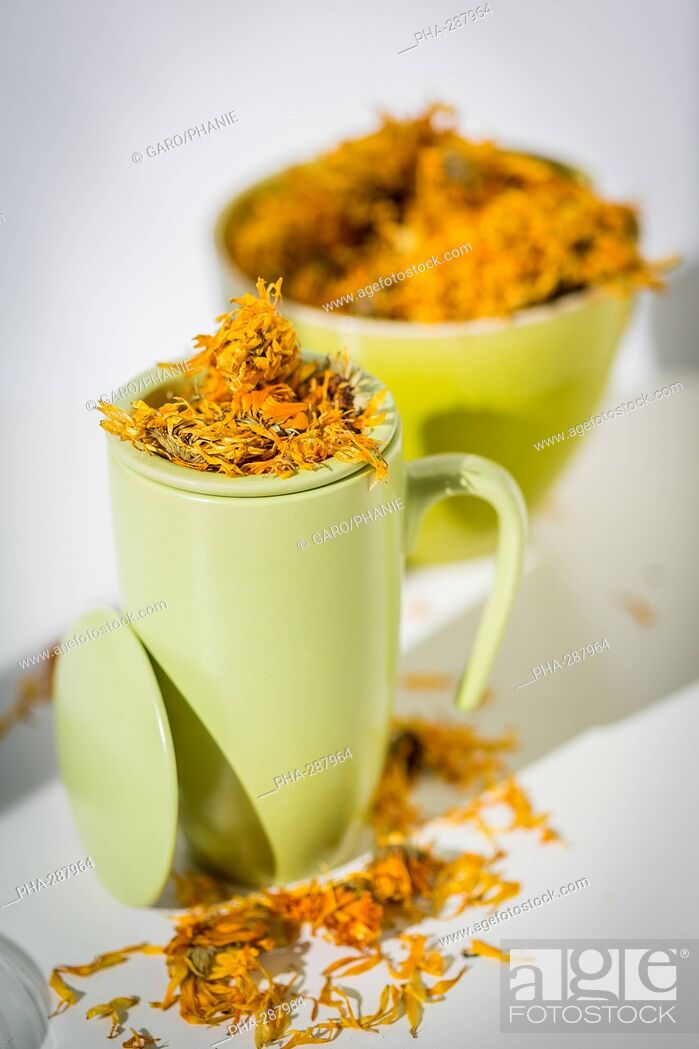 Stock Photo: Marigold petals herb (Calendula officinalis) infusion.