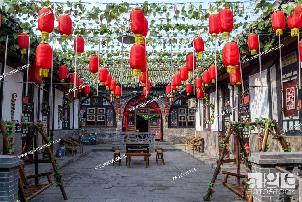 Stock Photo: Residential house and courtyard, Pingyao, Shanxi province, China.