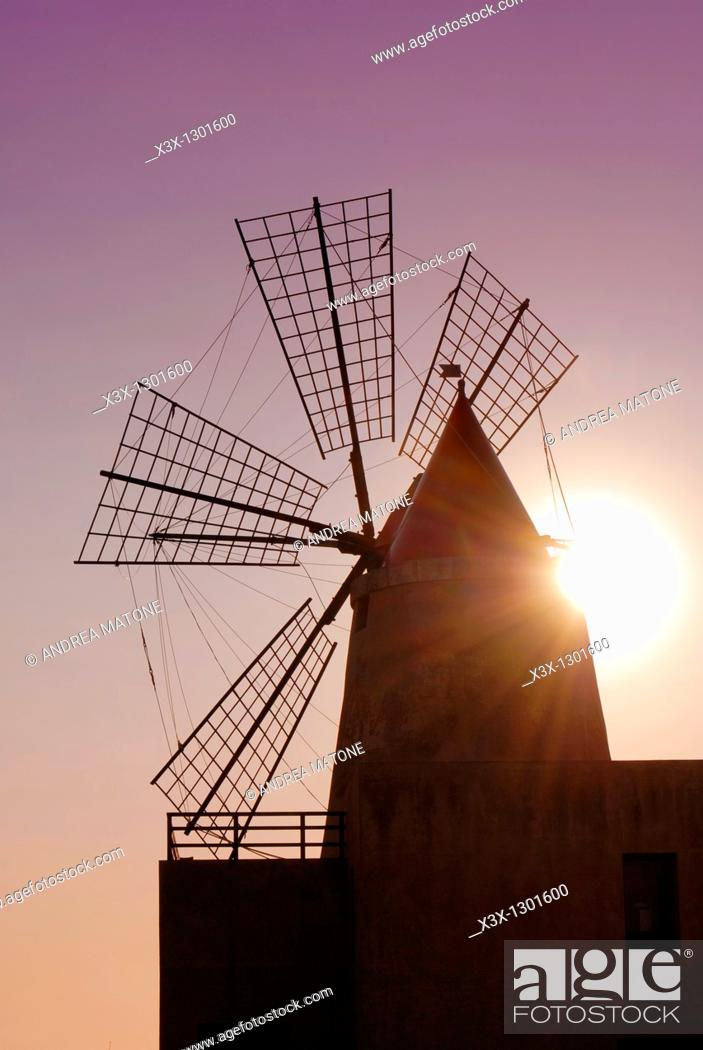 Stock Photo: Close up of a windmill used in the saline production of Mozia Sicily Italy.