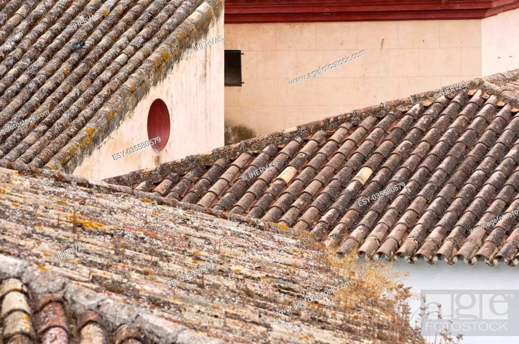Stock Photo: Tiled roof in Zahara de la Sierra town, Spain. This village is part of the pueblos blancos -white towns- in southern Spain Andalusia region.