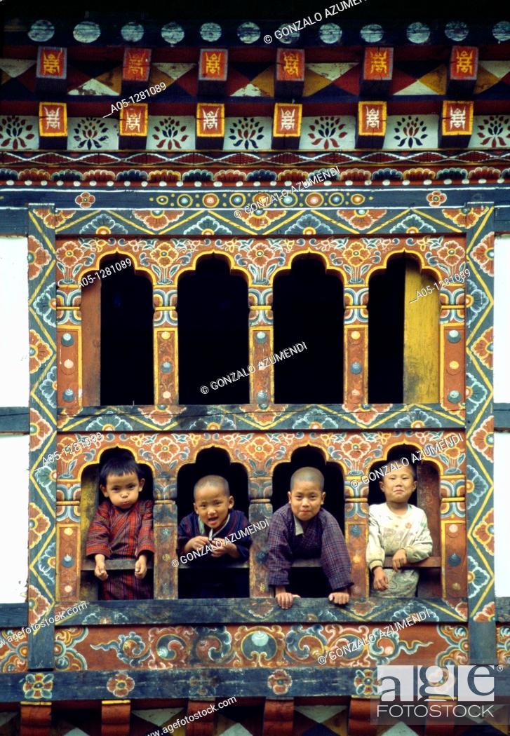 Stock Photo: Framework House Wandi Phodrang  Bhutan  Butan.