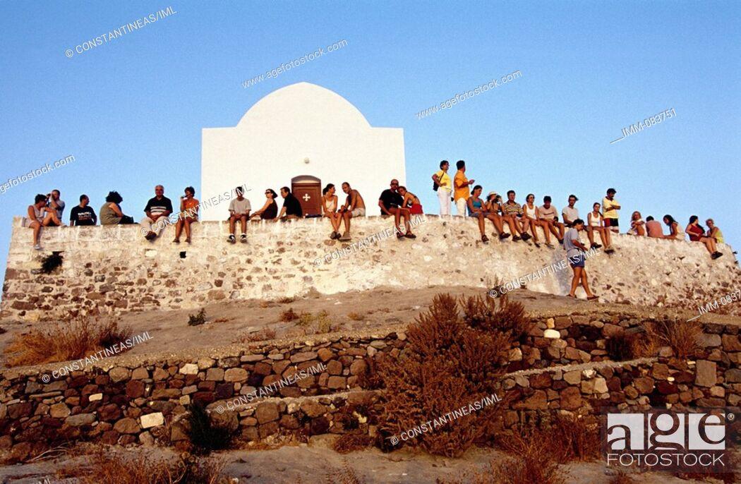 Stock Photo: Cyclades, Milos Plaka, People watching the sunset.