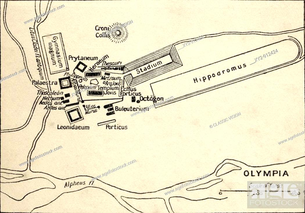 Map Of Olympia Greece From The Book Atlas Of Ancient And Classical