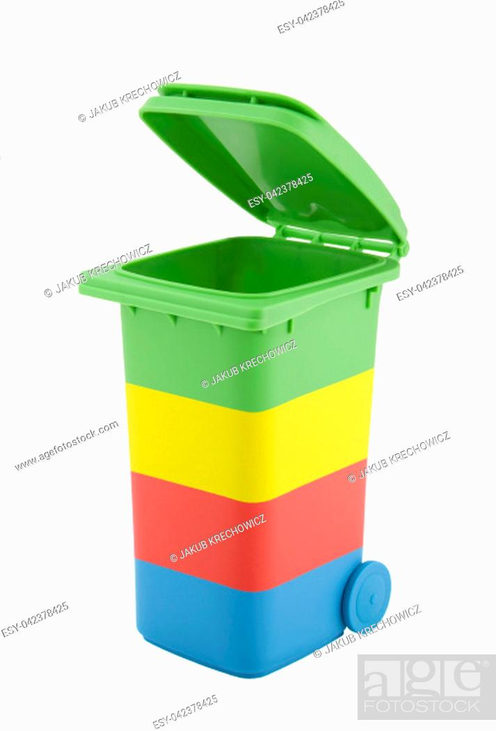 Stock Photo: Colorful recycle bin isolated on white background with clipping path.