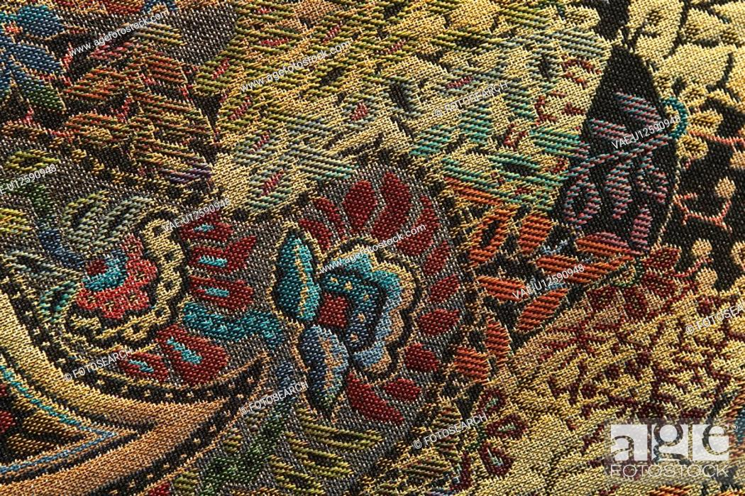 Stock Photo: Carpet, Close-Up, Design, Embroidery, Full Frame.