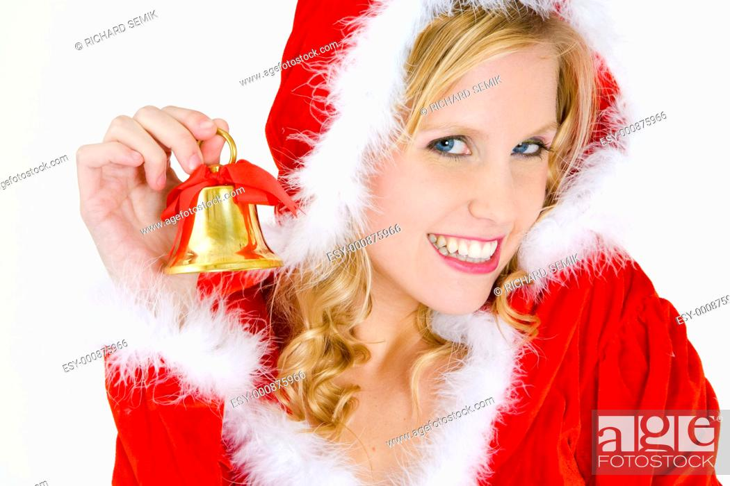 Stock Photo: Santa Claus with a bell.
