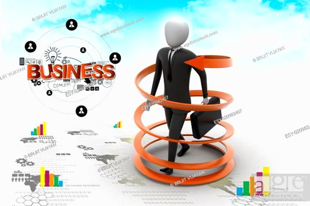 Stock Photo: 3d man business success concept.