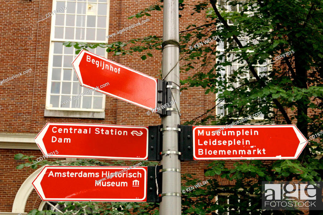 Stock Photo: Street signs. Amsterdam. Holland.