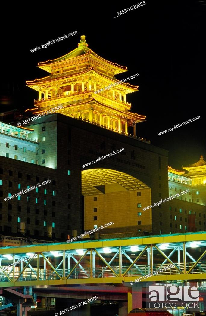 Stock Photo: Beijing west Railway Station by night, Beijing, China.