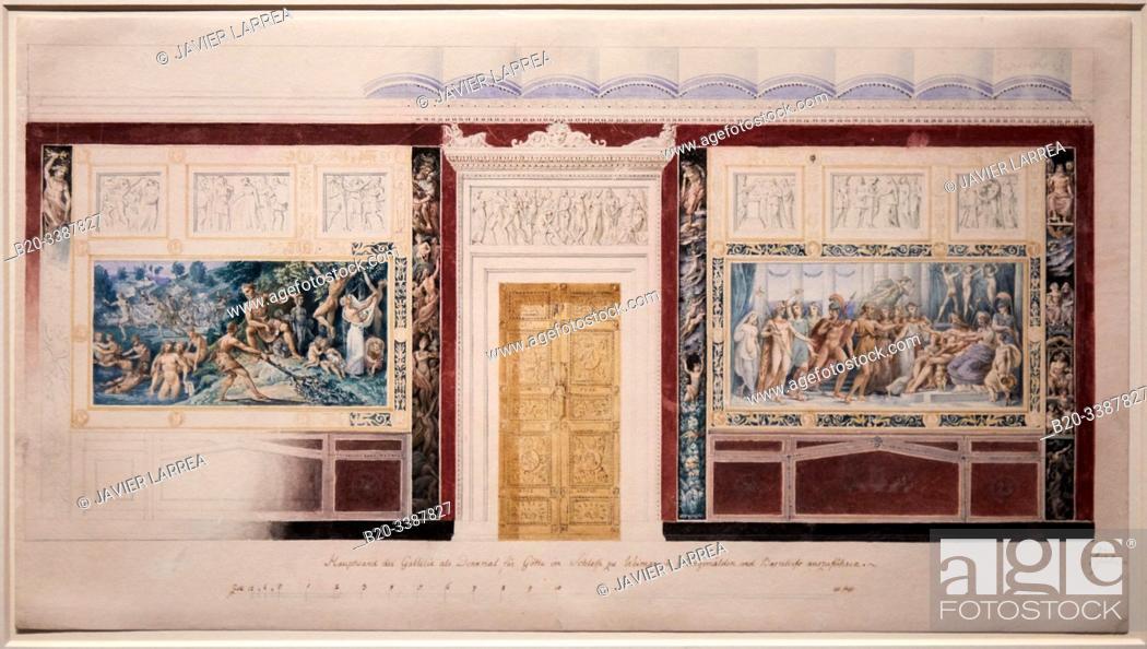 """Stock Photo: """"""""""""Project de decor (non réalisé) du mur principal de la galerie Goethe au Residenzschlob, á Weimar"""""""", 1836, Karl Friedrich Schinkel."""
