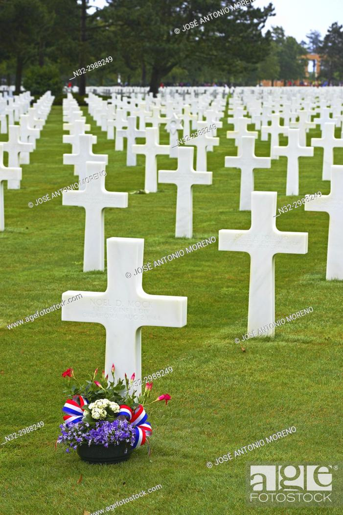 Stock Photo: Second World War Cemetery, Colleville Sur Mer, Omaha Beach, D-DAY Landing Site, American War Cemetery, Basse-Normandie. Calvados Department, Bayeux District.