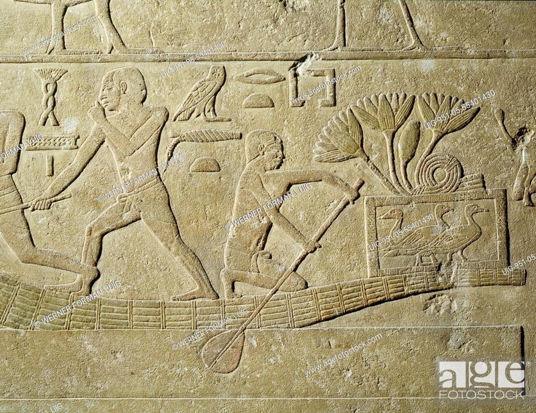 Imagen: A relief depicting hunters in papyrus reed boats with captured birds in baskets.