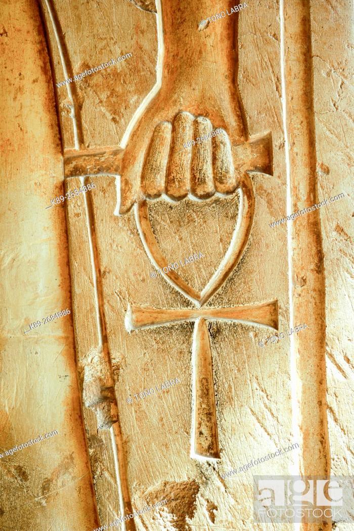 Stock Photo: Hieroglyph. Hatshepsut Temple. West Bank. Luxor old Thebas. Upper Egypt.