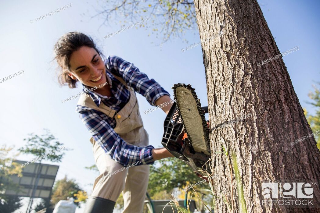 Stock Photo: Woman on farm cuttiing tree with chain saw.