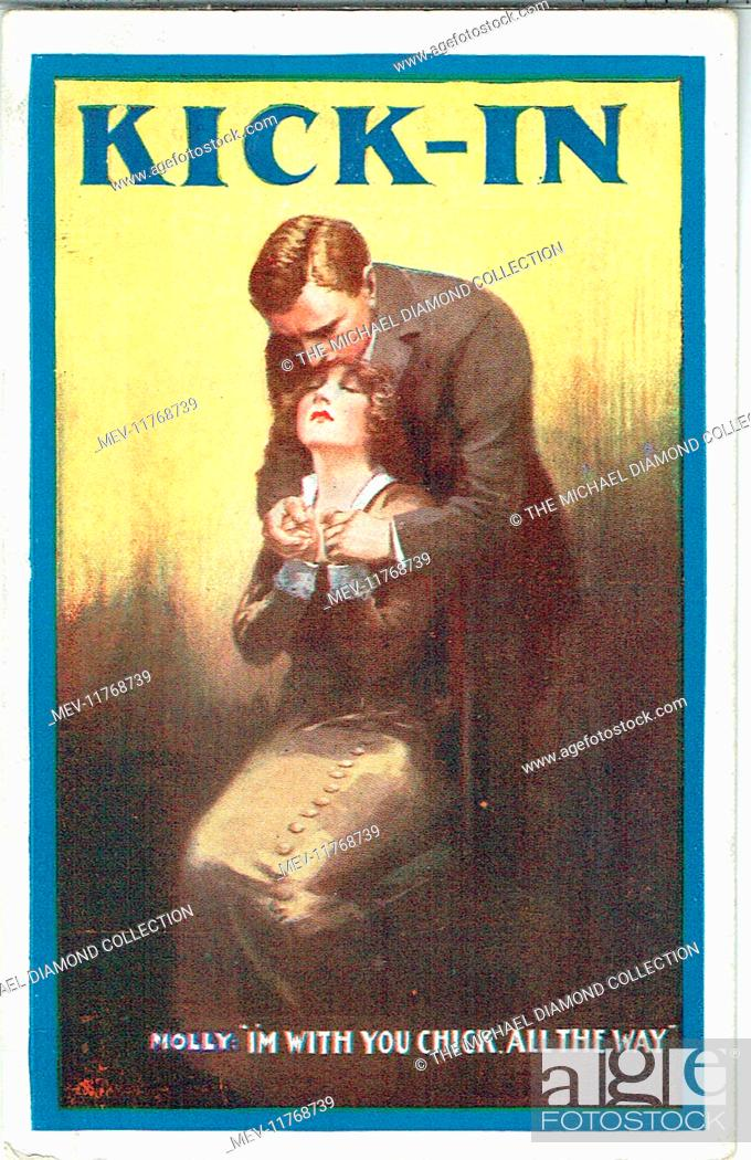 Stock Photo: Promotional postcard for Kick-In by William Mack. First produced in England at the Vaudeville Theatre, 28th August 1915.