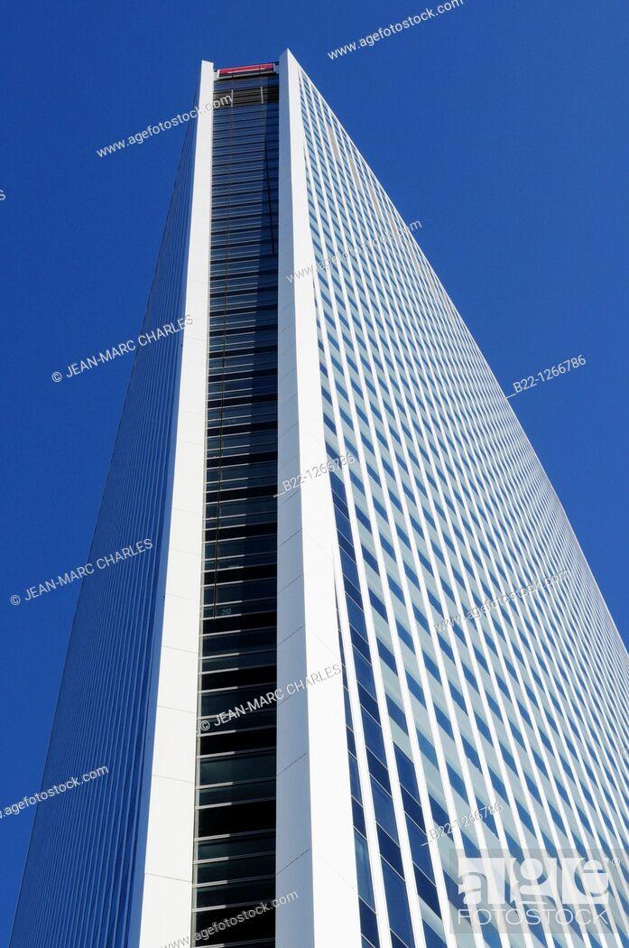 Stock Photo: Tower of Société Générale one of the leading financial services companies in Europe, La Défense business district, Paris, France.