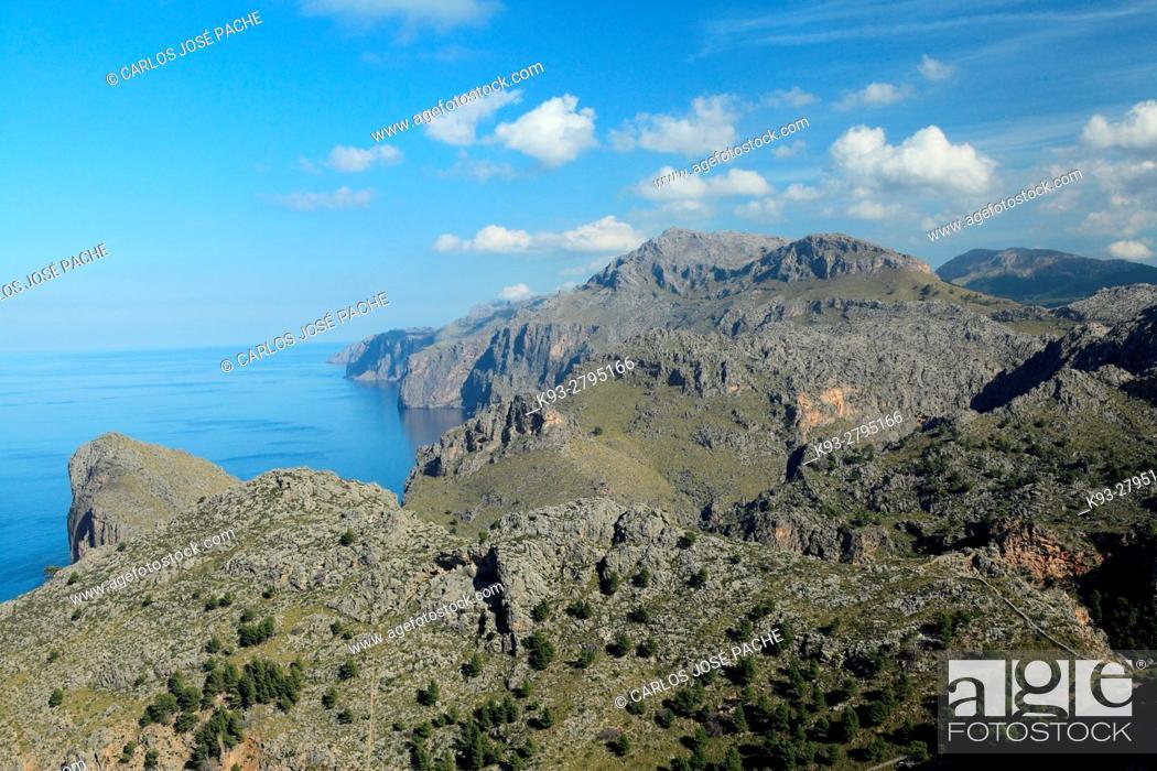 Stock Photo: View from Torre de Sa Mola, Serra de Tramuntana, Majorca, Balearic Islands, Spain.
