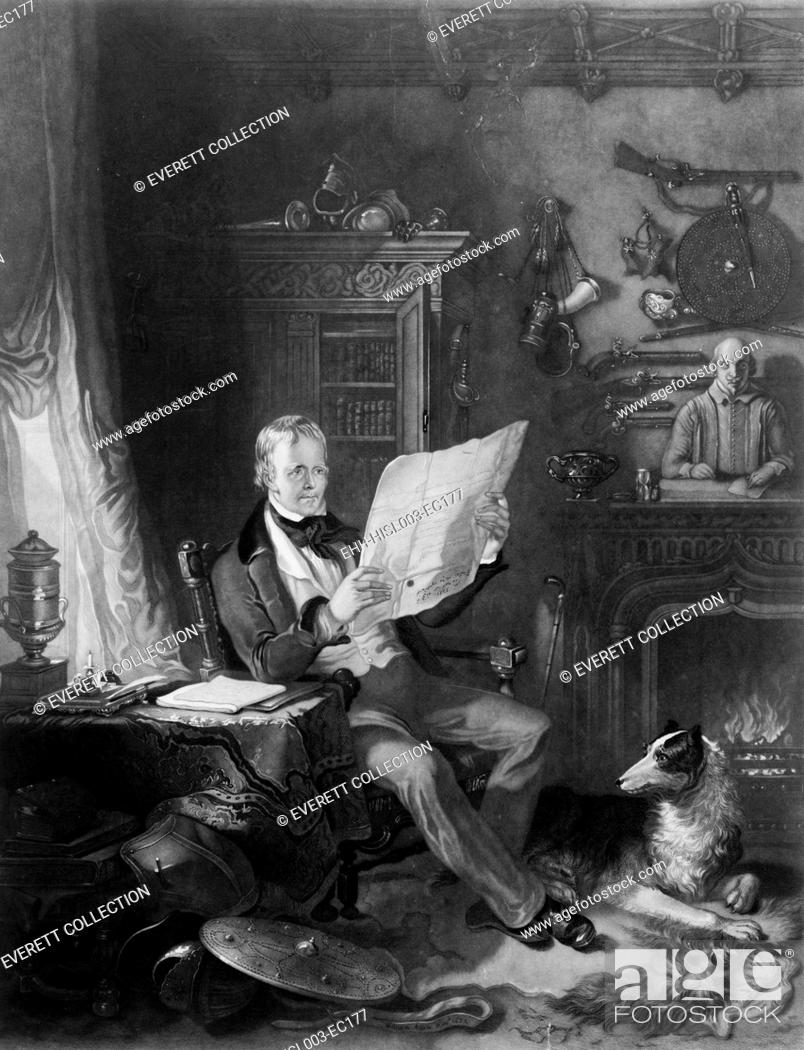 Stock Photo: Sir Walter Scott (1771-1832), Scottish writer in his study at Abbotsford, surrounded by historical weapons, portraits, and statues related to the subjects of.