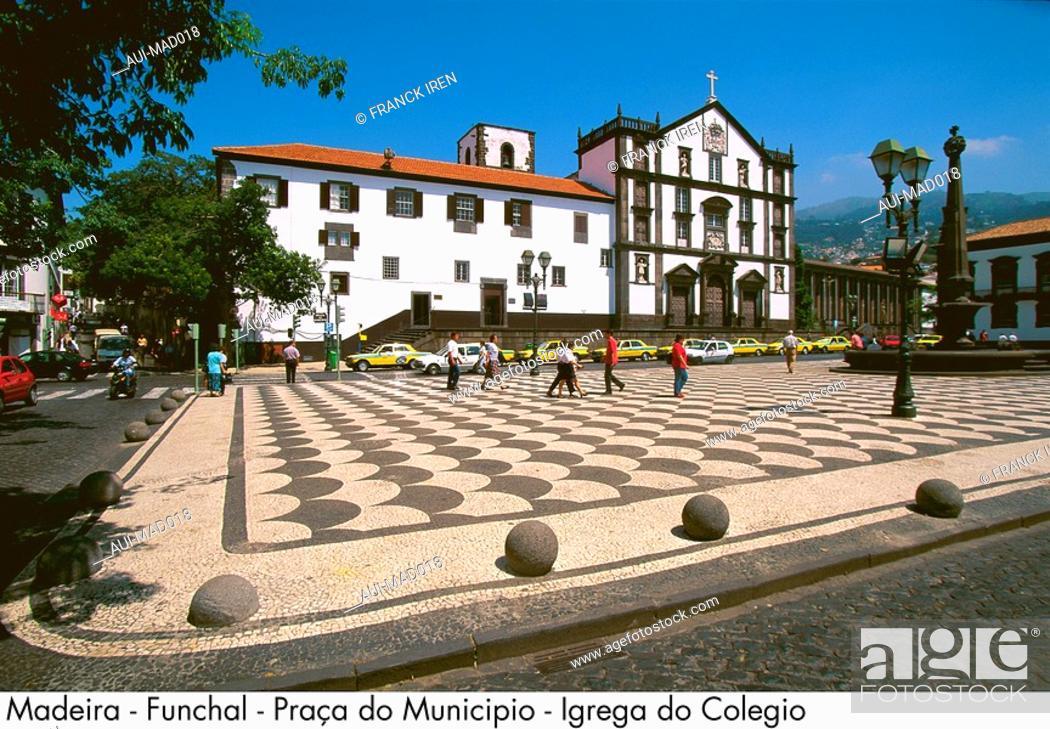 Stock Photo: Portugal - Madeira - Funchal - Praca do Municipio - Igreja do Colegio.