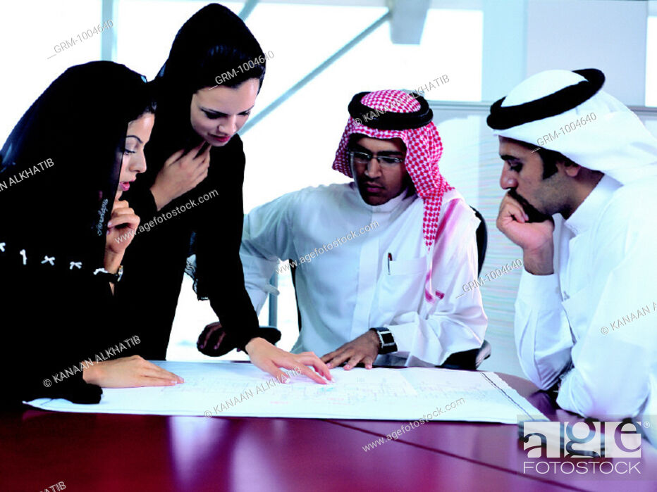 Stock Photo: Businesspeople discussing architectural sketch.