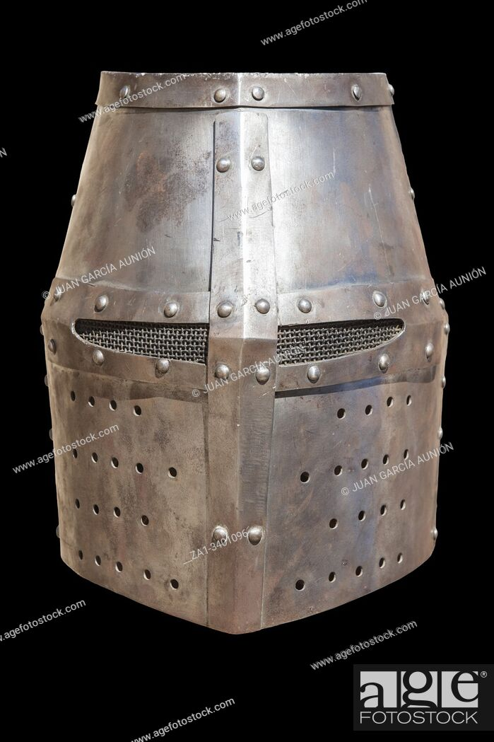 Stock Photo: Christian flat full helmet, also used by moorish armies during Reconquista period, 11-13th Century.