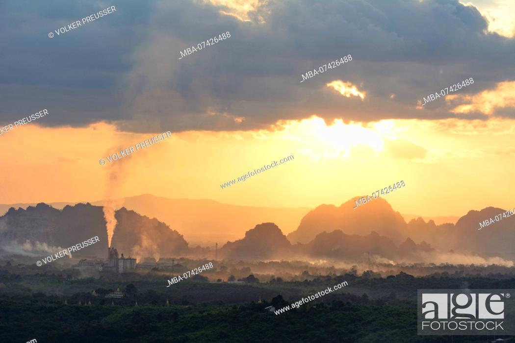 Stock Photo: Hpa-An, Rhino Cement factory, limestone mountains, Kayin (Karen) State, Myanmar (Burma).