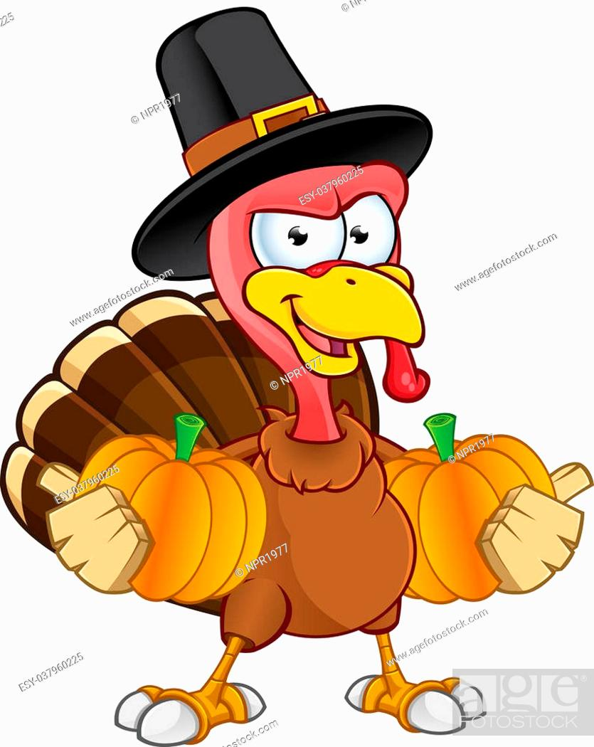 Stock Vector: A cartoon Illustration of a Thanksgiving turkey character. Illustration has some clip masking.