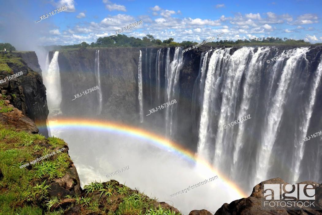 Stock Photo: Waterfalls, Victoria Falls, Zimbabwe.