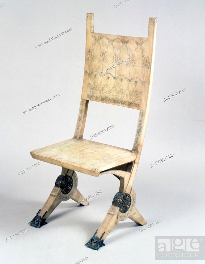 Stock Photo: Art Nouveau Style Deck Chair, By Carlo Bugatti (1856 1940