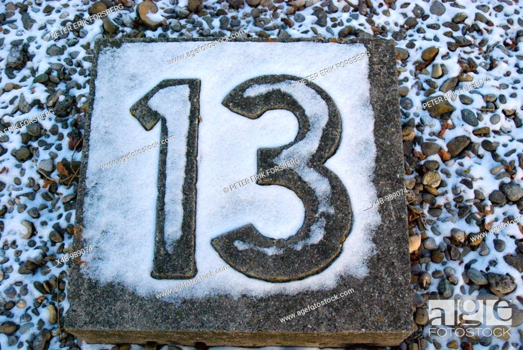 Stock Photo: 13 the hard luck number.