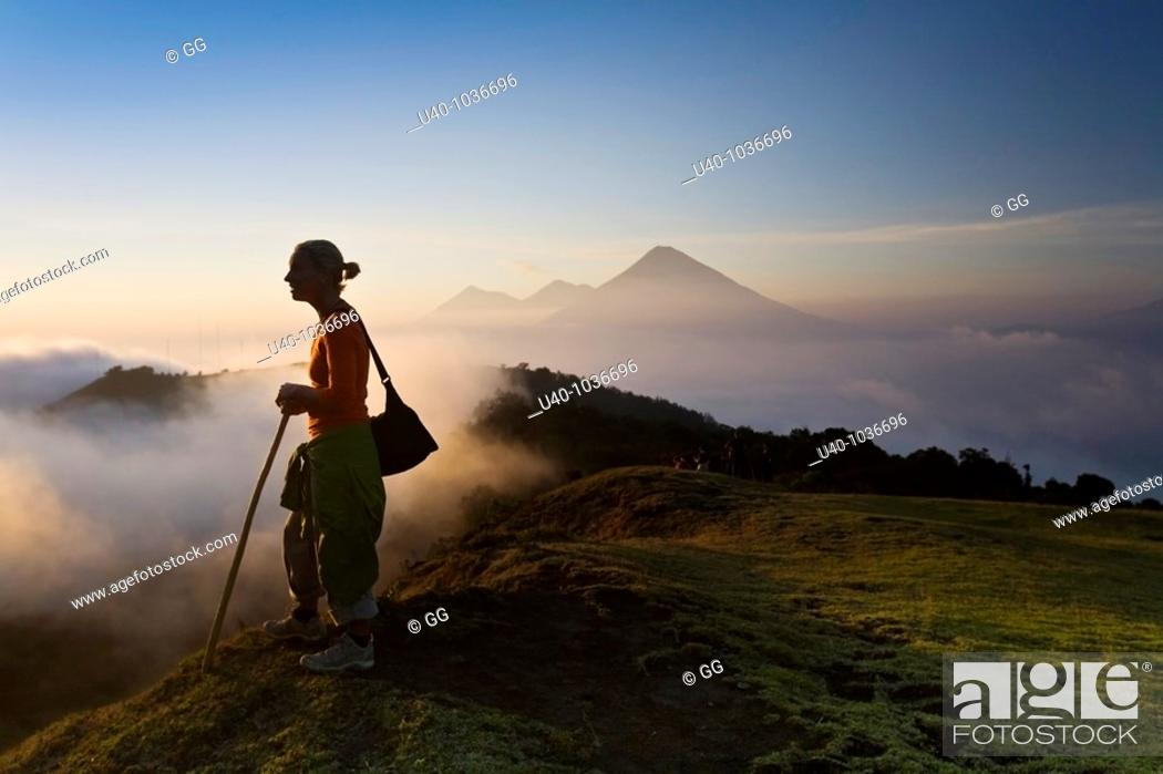 Stock Photo: Hiker at sunset.