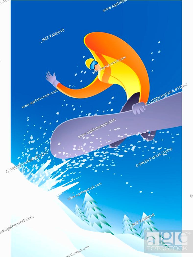 Stock Photo: Illustration of a snowboarder.