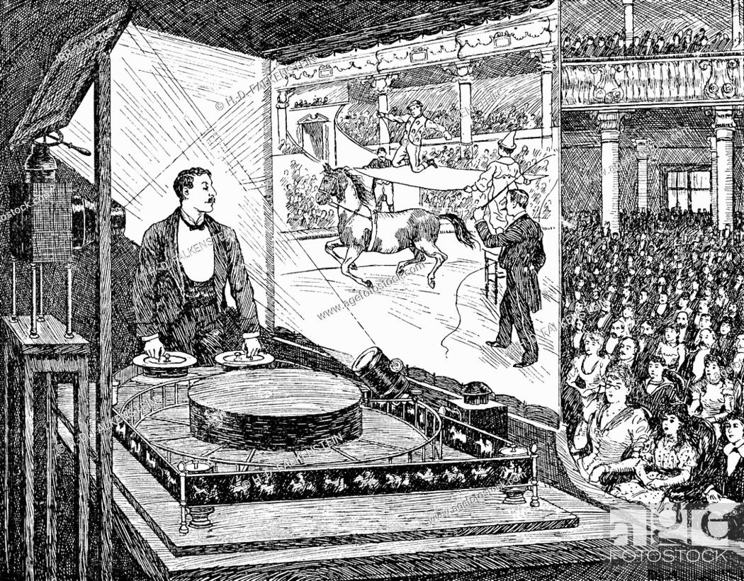 Historical drawing from the 19th Century, cinema performance