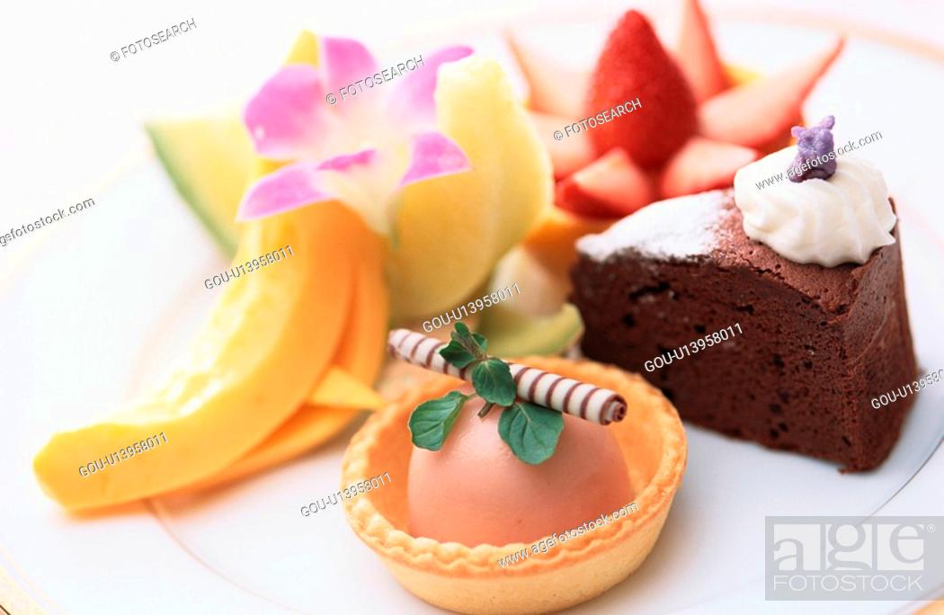 Stock Photo: Cakes And Fruits.