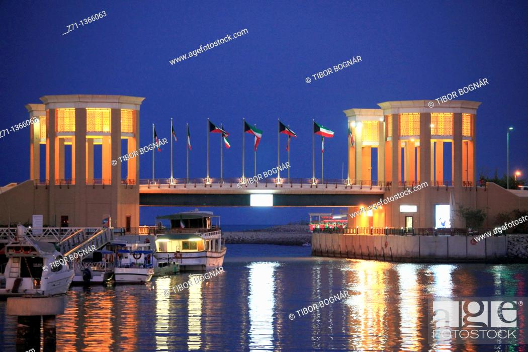 Stock Photo: Kuwait, Kuwait City, Souk Sharq, bridge, marina,.