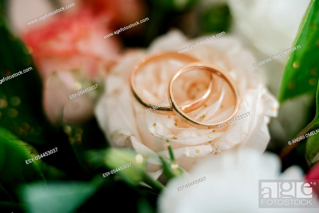 Stock Photo: gold wedding rings as an attribute of a young couple's wedding.