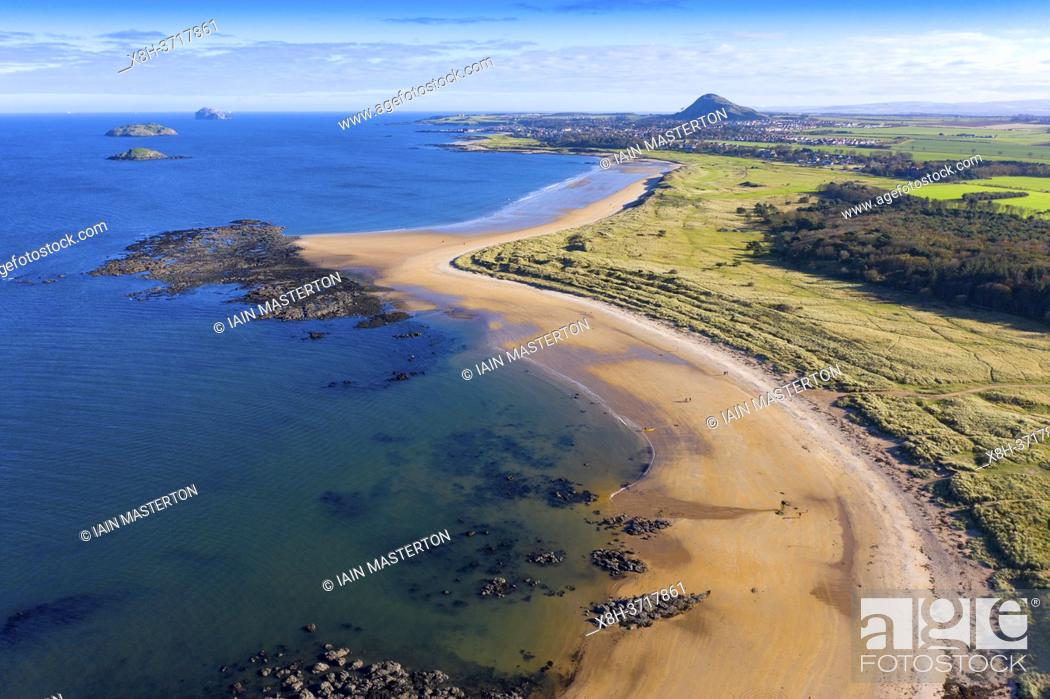 Stock Photo: Aerial view of Yellowcraigs beach on Firth of Forth in East Lothian, Scotland, UK.