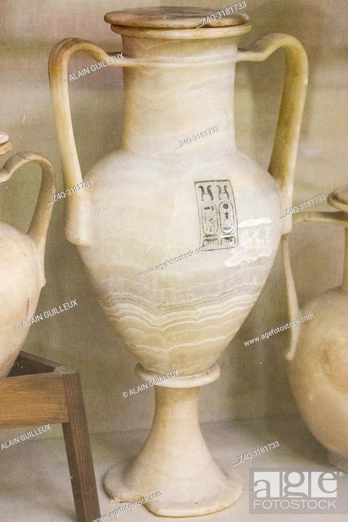 Stock Photo: Egypt, Cairo, Egyptian Museum, Tutankhamon alabaster, from his tomb in Luxor : Large amphora, with 2 handles, showing the cartouches of Tutankhamon.