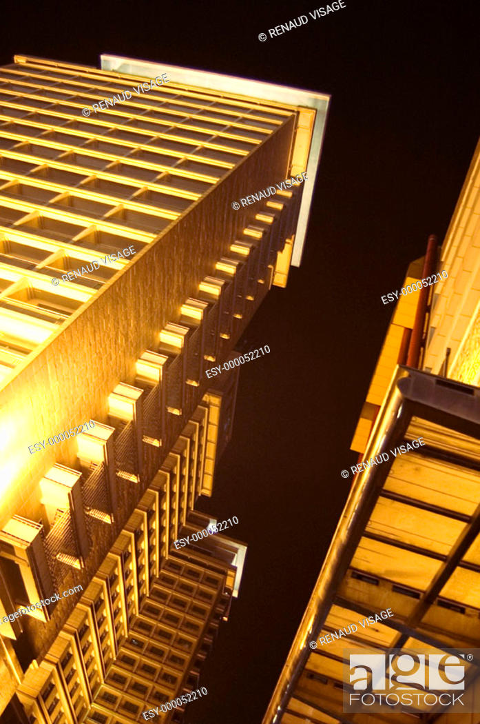 Stock Photo: High-rise buildings illuminated at night. Beijing. China.