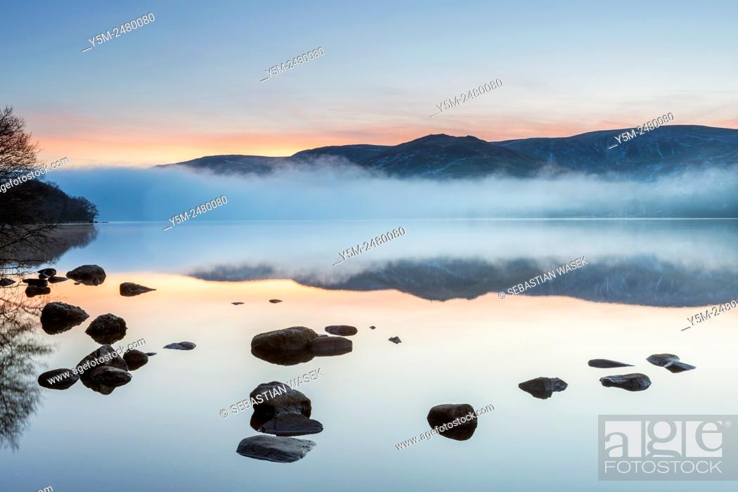 Stock Photo: Morning at Ullswater, Lake District National Park, Cumbria, England, United Kingdom, Europe.