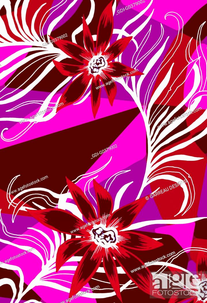 Imagen: Geometric background with tropical flowers layered on top.
