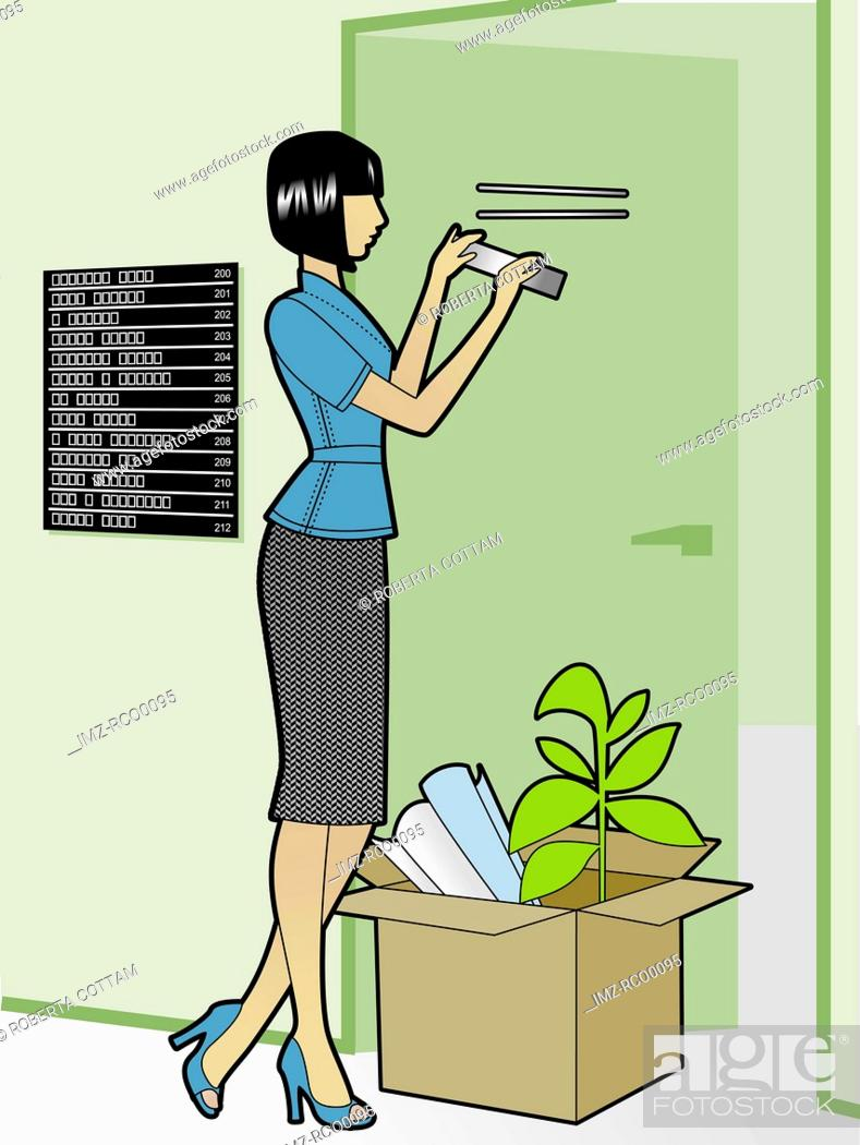 Stock Photo: A woman taking down the name plate on her door.