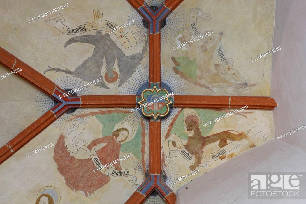 Stock Photo: Südliches Seitenschiff, Fresken im Westjoch, Evangelistensymbole.