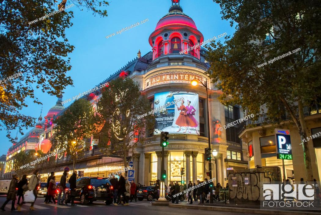 Stock Photo: Paris, France, Christmas Shopping, French Department Store, Printemps, Dior Advertising.