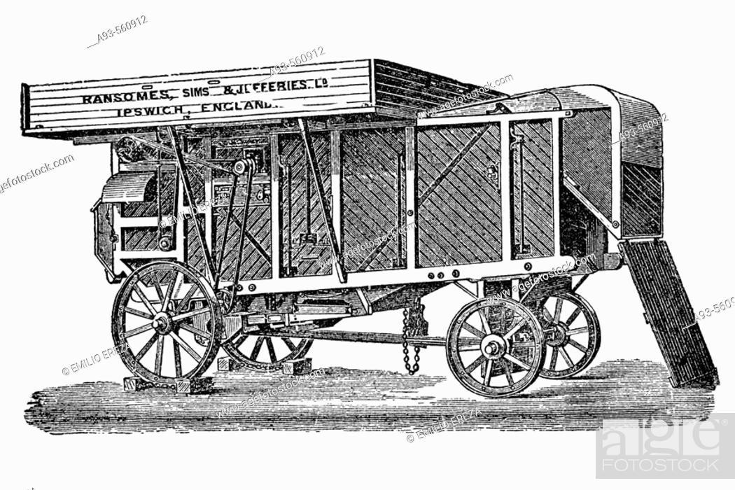 Stock Photo: Threshing machine. Antique drawing, ca. 1900. / Trilladora con ventiladores y criba. Antigua ilustración de alrededor de 1900.