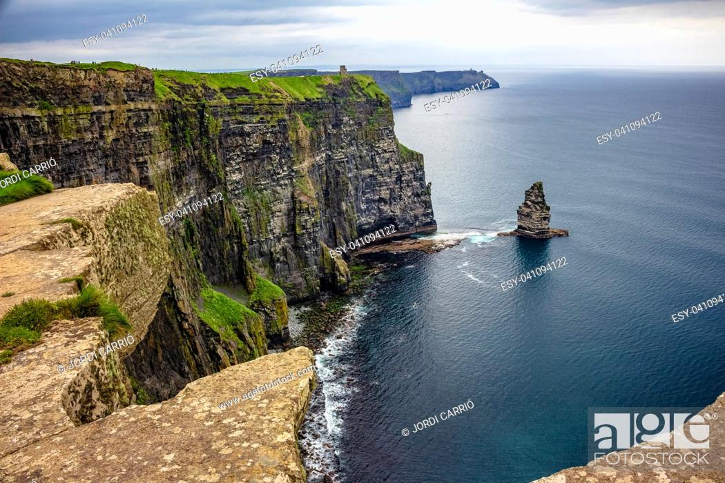 Stock Photo: View of O'Brien's Tower and the background of Moher Fort Site Telegraph Station.